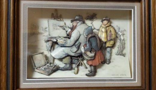 風景画を描く老人ーシャドーボックス①