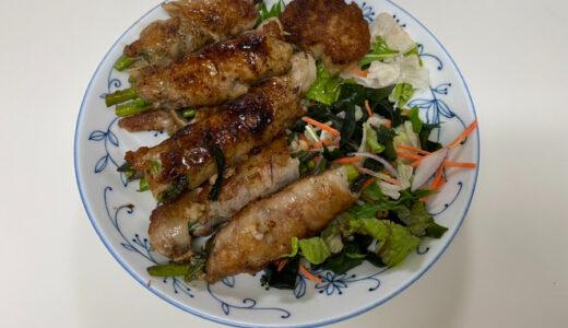タケノコご飯と肉巻きを作る