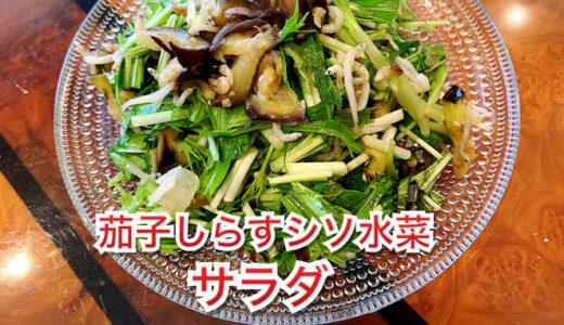 私流❤️茄子しらすシソ水菜サラダ